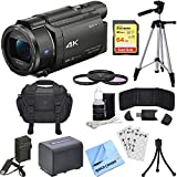 Sony FDR-AX53/B 4K Handycam Camcorder Bundle with Camera Bag, 64GB SDXC Memory Card, 2540 mAh Battery, Battery Charger, 55mm 3 Piece Pro Level Lens Filter Kit and Accessories (3 Items)