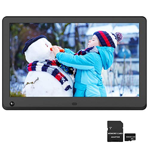 12 inch Digital Picture Frame 1920x1080 IPS Screen 16:9 Photo Auto Rotate, Motion Sensor Detection, 1080P Video Frame, Auto Turn On/Off, Auto Play, Background Music, Include 32GB SD Card Digital Frames Picture