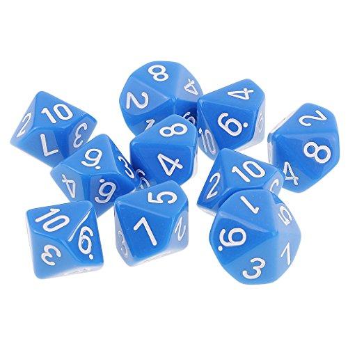 Sharplace 10er-Set Acryl 10-seitig Würfel Spielwürfel D10 für Brettspiel Kartenspiel - Blau