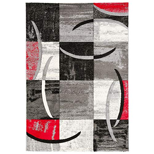 Dimension:60x100 cm Paco Home Tapis Design Poils Ras Tapis Moderne Abstrait Demi-Cercles Motif en Rouge Gris