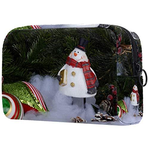 Neceser de Maquillaje Estuche Escolar para Cosméticos Bolsa de Aseo Grande Piñas de muñeco de Nieve de Navidad