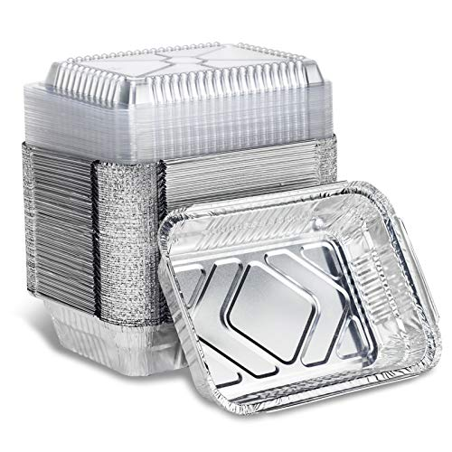 Disposable Takeout Aluminum Foil Pans with Clear Lid Baking Pans Tin Food Storage Food Containers with Seal for Freshness,Great for Cooking, Heating, Storing, Prepping Food 8.5x6'-2lb…
