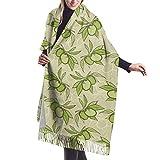 Bufanda de mantón Mujer Chales para, Patrón de rama de olivo verde Bufanda cálida de invierno para mujer Moda Bufandas largas y grandes de cachemira suave Bufandas