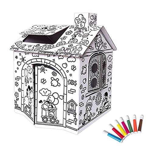 FANDEARRO ダンボールハウス 子供段ボールプレイハウス マイホーム お絵かき ペン付属 手作り落書きゲームハウス 色塗り 塗り絵 誕生日プレゼント 組み立て簡単 (小)