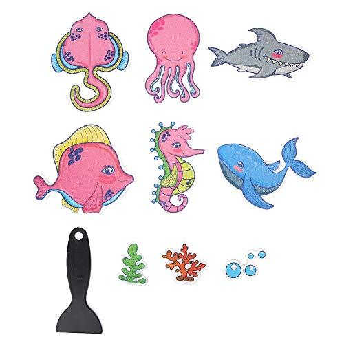 JULYKAI rutschfeste Badewannenaufkleber, 9-TLG. Cartoon Badezimmer Anti-Rutsch-Aufkleber Tierform wasserdichte Badewannenaufkleber mit Schaber Marine Organism Aufkleber