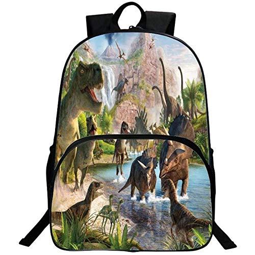 Mochila escolar 3D Jurassic World Dinosaurio Mochila para niños y niñas, mochila escolar para el colegio, guardería y escuela primaria, 4 (Negro) - DUKBP-0727-1