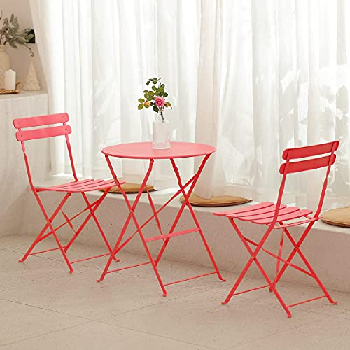 mano Garden Balcony Sets 1 Table and 2 Chairs Outdoor Dining Camping Furniture Folding Wrought Iron Table Chairs for Patio Courtyard Home Living Room Picnic Terrace(3 Pieces, Red)