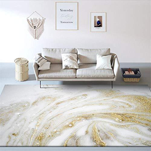 """Alfombra Salon Grande - Alfombras Dormitorio Modernas Lavables - fácil de cuidar Resumen Dorado Blanquecino 160X230CM( 5ft3 x7ft 8"""")"""