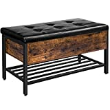 HOOBRO Storage Bench, Storage Ottoman, Shoe Bench with Padded Seat and Metal Shelf, Flip Top Toy Box Storage Chest, Bed End Stool for Bedroom, Hallway,Living Room, Rustic Brown and Black BF98CW01