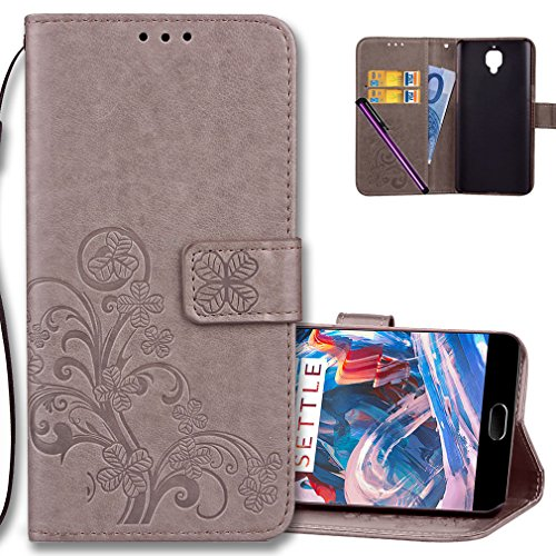 OnePlus 3 Wallet Case Leather COTDINFORCA Premium PU Embossed Design Magnetic Closure Protective Cover with Card Slots for OnePlus 3T / OnePlus 3. Luck Clover Grey