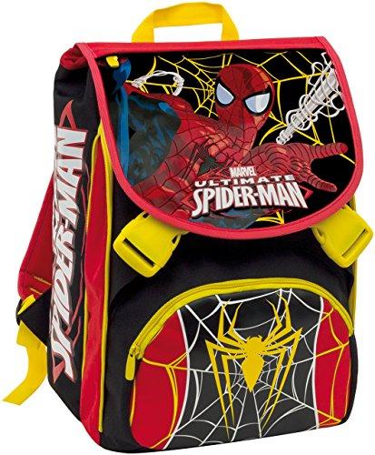Zaino scuola sdoppiabile Big + personaggio - SPIDER-MAN - Rosso Nero - estensibile elementari e medie 28 LT