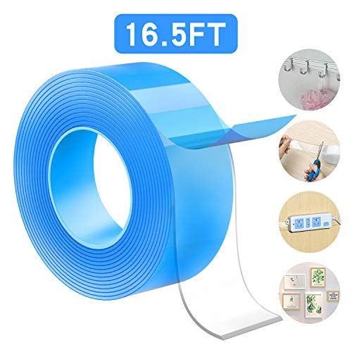 Meofia Nano Double Sided Tape Heavy Duty Mounting Tape, Multipurpose Reusable Traceless Strong Adhesive Tape, Removable Washable Stick Gel Grip Tape for Photos Carpet Mat Wall Kitchen Office