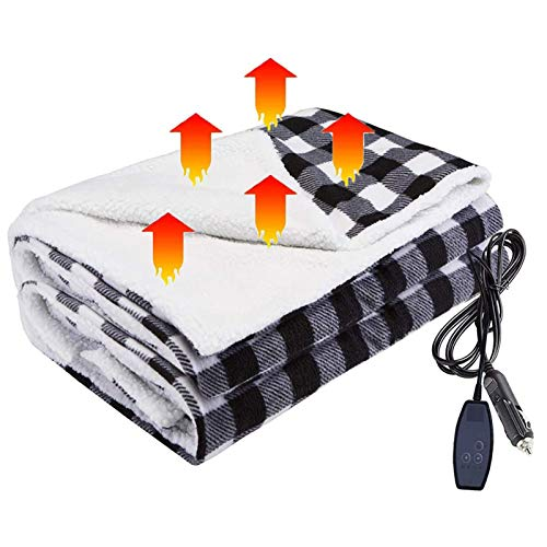 QinnLiuu Electric Blanket, 12V Heated Blanket for Car Ultra Thick Soft Heating Blanket with 4 Heat Settings & Overheat Protection Easy To Use Perfect