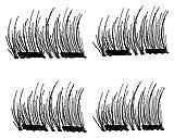 SILVIA Dual Magnetic False Eyelashes, No Glue, Natural Handmade Extension Fake Eye Lashes 3d Reusable Magnet Eyelashes,Premium Quality False Eyelashes Set, 4 Piece (Dual Magnetic False Eyelashes)
