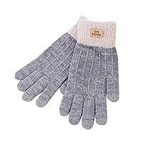 Tivyanlim レディース ニット 手袋 秋冬用 ウール 暖かい手袋 女性用 滑り止めニット タッチスクリーン 保温カフ ドライビンググローブ 厚手のフリース裏地付き