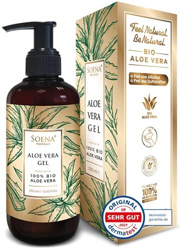 Aloe Vera Gel mit 100{ac83d73eb685dcfc7507a664acdcb31af3d0ae385b6fd05358601c1c4ad0bcf0} BIO ALOE VERA | Ohne Alkohol & Duftstoffe| NATURKOSMETIK | Tierversuchsfrei - Feuchtigkeitspflege von Soena® - After Sun - 250 ml - Aus Saft hergestellt - Made in Germany