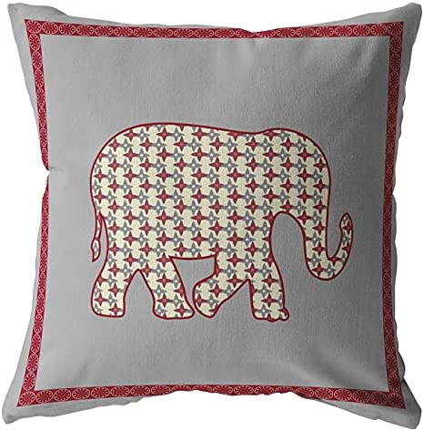 Amrita Sen Designs Light Elephant Broadcloth Red Pillow half Zippered Max 40% OFF
