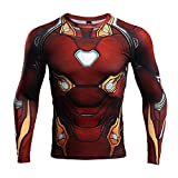 Infinity War Iron Man Compression Shirt for Men's Fitness Top (XX-Large, Red)