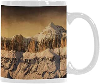 Farmhouse Decor Trend Mug,Surreal Saturated Photo of Italian Twin Mountain Peaks with Silent Overcast Sky for Office Travel,3