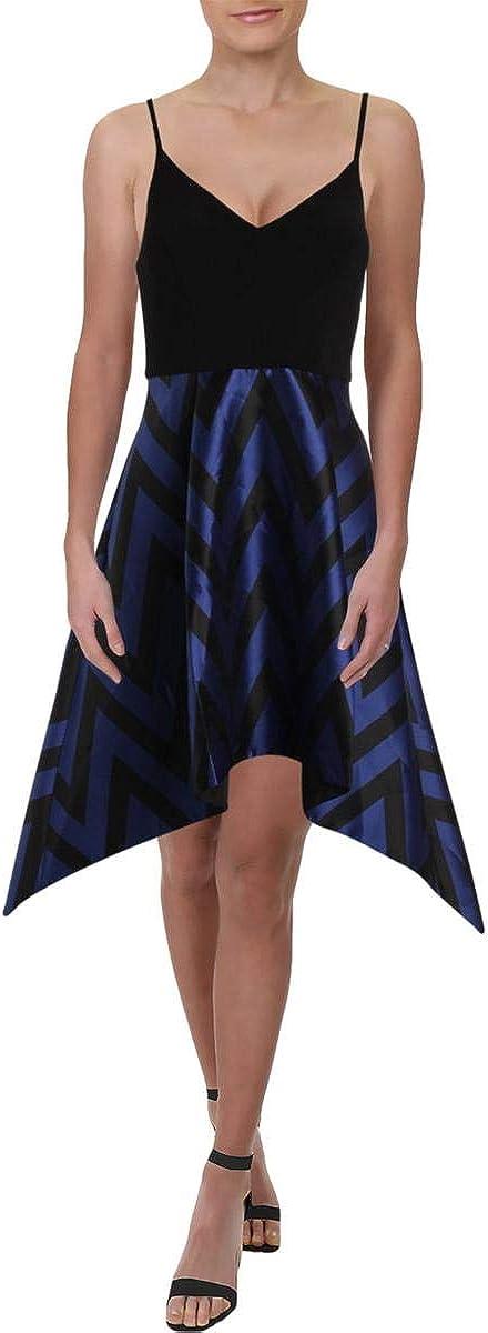 Betsy & Adam Womens Printed Chevron Cocktail Dress Black 6