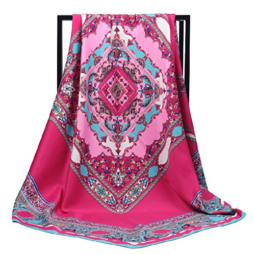 HAIHF sjaals, Bohemian Celebrity Style Geometric Cashew-Twill-druksjaal grote vierkante satijnen hoofddoek - 100 * 100cm