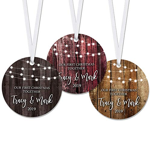 Our First Christmas Together 2021 Ornament Established - Personalized - Couple - Keepsake - Boyfriend - Girlfriend - Rustic - Gift for Couples - RO0095-RO0100