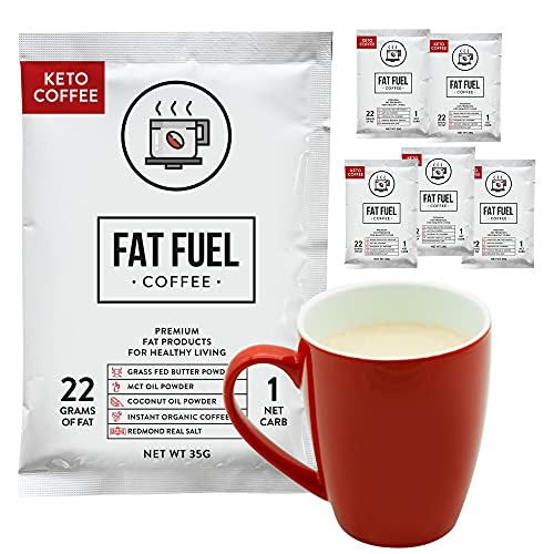Fat Fuel Instant Keto Coffee Sample Pack (6 Packets) – a Complete Keto-Friendly Meal Replacement with MCT Oil, Coconut Oil, and Grass Fed Butter – Low Carb, Gluten-Free, and Organic
