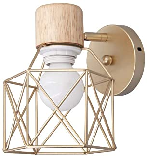Lámpara de pared de jaula de oro de metal moderno Decorar casa de campo Dormitorio Mesita de noche Sala de estar Lectura Aplique de pared industrial Lámpara de pared AC90-220V Luz blanca E27