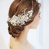 Frcolor Clip de cheveux nuptiale de cheveux en cristal, accessoires de mariage de cheveux de perle de fausse pierre pour le mariage de demoiselles d'honneur de la mariée pour le mariage