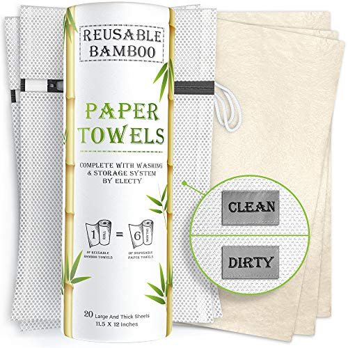 Product Image of the Electy Reusable Paper Towels – 20 Bamboo Paper Towels with 2 Wash and Storage Bags, 6 Month Supply, Zero Waste! Heavy Duty - Eco Friendly Paper Towels - Unpaper Towels - Paperless Paper Towels