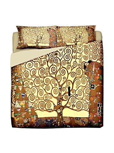 Manifatture Cotoniere Klimt-Albero della Vita Parure Copripiumino, Cotone, Oro, Matrimoniale, 250 x 200 cm, 3 unità