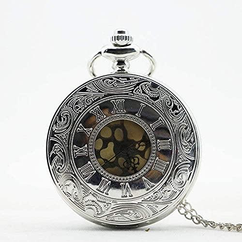 JZDH Reloj de Bolsillo Llegada Moda Vintage Número Romano Cuarzo Steampunk Reloj de Bolsillo con Cadena Mujeres de Navidad (Color : Silver)