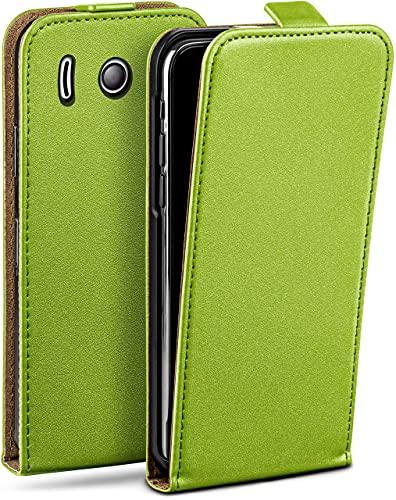 moex Flip Hülle für Huawei Ascend Y300 Hülle klappbar, 360 Grad R&um Komplett-Schutz, Klapphülle aus Vegan Leder, Handytasche mit vertikaler Klappe, magnetisch - Grün