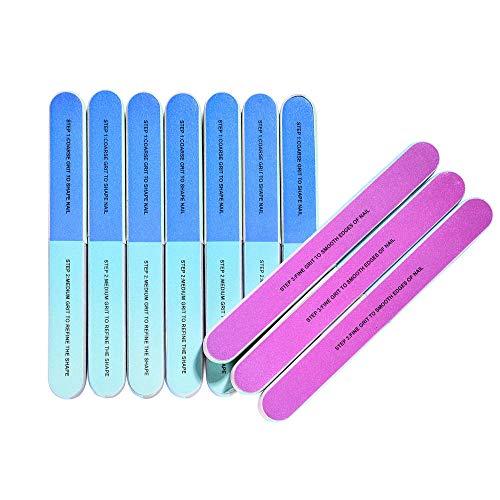 10 PCS IFUNSON Professional 7 Way Nail File and Buffers for Women Girls, Emery Boards, Manicure Tools