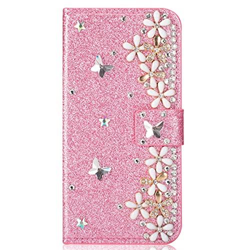 Blllue Funda de cartera compatible con iPhone 7 Plus, Bling Glitter Lucky Flower Diamond Pu Funda de cuero Flip Phone Cover para iPhone 8 Plus - Rosa