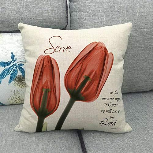 LPLH Funda de cojín Caliente de la Funda de Almohada de la Serie de Lino de tulipán Transparente de Rayos X 005-8_45 * 45cm
