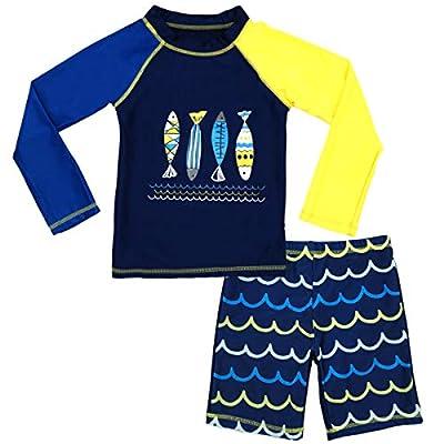 Boys Two Piece Rash Guard Swimsuits Kids Long Sleeve Sunsuit Swimwear Sets 2T