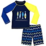 Boys Two Piece Rash Guard Swimsuits Kids Long Sleeve Sunsuit Swimwear Sets 3T