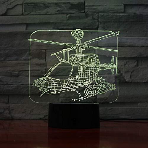 Zhuhuimin USB 3D ha Condotto la Campana della Luce Notturna OH-58 Iowa Modello di Aereo Fantasma combattente luci Decorative combattente Lampada da Tavolo Comodino