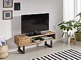 TV ANGI 100 - Tavolo TV, mobile TV da salotto, design industriale, vintage, cassetto e mensola, legno massello naturale, gambe in metallo. Dimensioni: 100 x 40 x 30 cm.