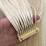HAOCHIDIAN 6D Extensión Real Human Hair para 6D Extensiones de Cabello Máquina Más rápido Tecnología Natural Sin rastrear Conexión de Plumas Pelo para Cabeza 10 Filas # 613,18 Inch