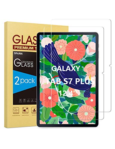 [2 Pack ] SPARIN Screen Protector Compatible with Samsung Galaxy Tab S7 Plus, Tempered Glass/S Pen Compatible/Anti-Scratch/Bubble Free