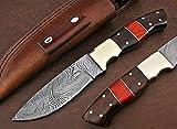 Poshland Handmade Damascus Steel Bushcraft Knife - Stunning Easy Grip Handle