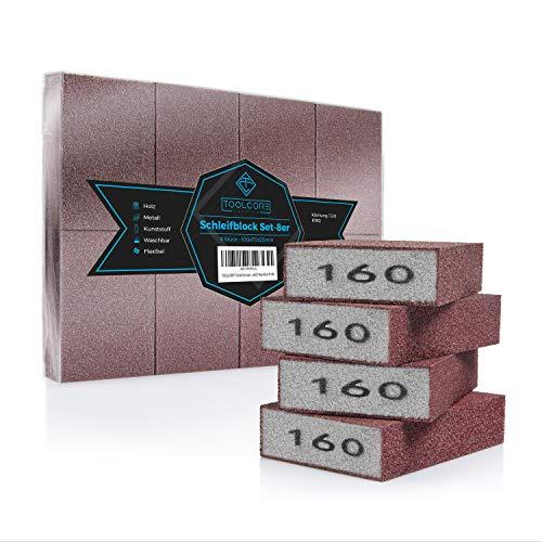 TOOLCORE® Schleifschwamm | 8 Stück - K160 | Flexibel & Waschbar | Holz-Metall-Kunststoff | Schleifpapier, Handschleifer, Schleifklotz, Schleifblock