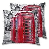 MOBEITI Juego de 2 Decorativo Funda de Cojín Cabina de teléfono roja Vintage London Street Scenery Big Ben City Landmark Funda de Almohada Cuadrado para Sofá Cama Decoración para Hogar,65x65cm