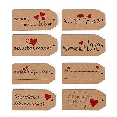 120 etiquetas de regalo, 8 diseños diferentes con frases (idioma español no garantizado), papel de estraza de alta calidad, etiquetas de regalo, colgante de regalo.
