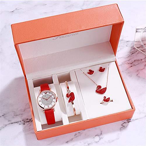 YIBOKANG 5-piece Suit Ladies Watch Pendant Ring Earrings Bracelet Set Diamond Dial Pendant Steel With Waterproof Quartz Fashion Watch (Color : Red)