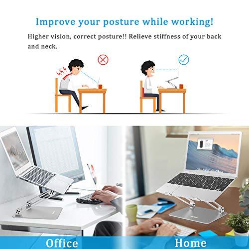 BoYata Laptop ständer: Multi-Angle-Standfuß mit Heat-Vent, Aluminium Einstellbares Notebook ständer kompatibel für Laptop (10-17 Zoll), einschließlich MacBook Pro/Air, Surface, Samsung, HP(Silber)