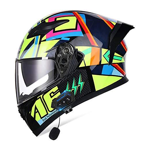 MOMOJA Casco Bluetooth para Motocicleta con Visor Doble Antivaho, Casco Abatible Cerrado, Casco De Carreras De Cara Completa Aprobado por ECE para Respuesta Automática L,XL(61-62cm)