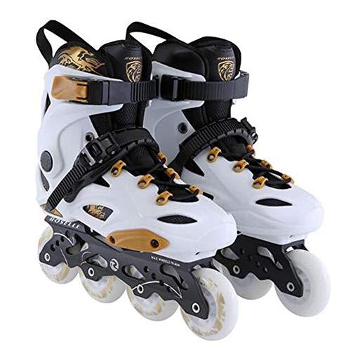 XIUWOUG Herren Damen Inliner Inlineskates   82A Rollen   ABEC9 Chrome Kugellager   Unisex Fitness Skates für Erwachsene,Weiß,39